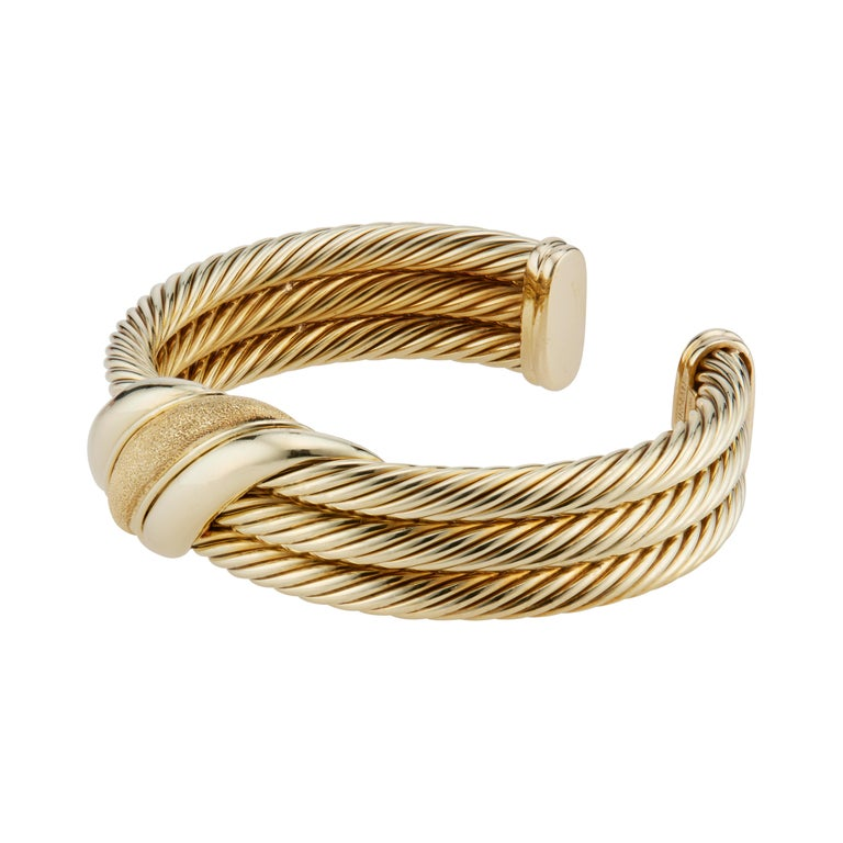 David Yurman Yellow Gold Triple Cable Band Cuff Bracelet  In Excellent Condition For Sale In Stamford, CT