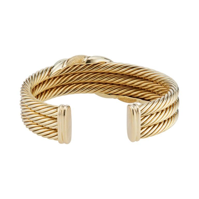 Women's David Yurman Yellow Gold Triple Cable Band Cuff Bracelet  For Sale