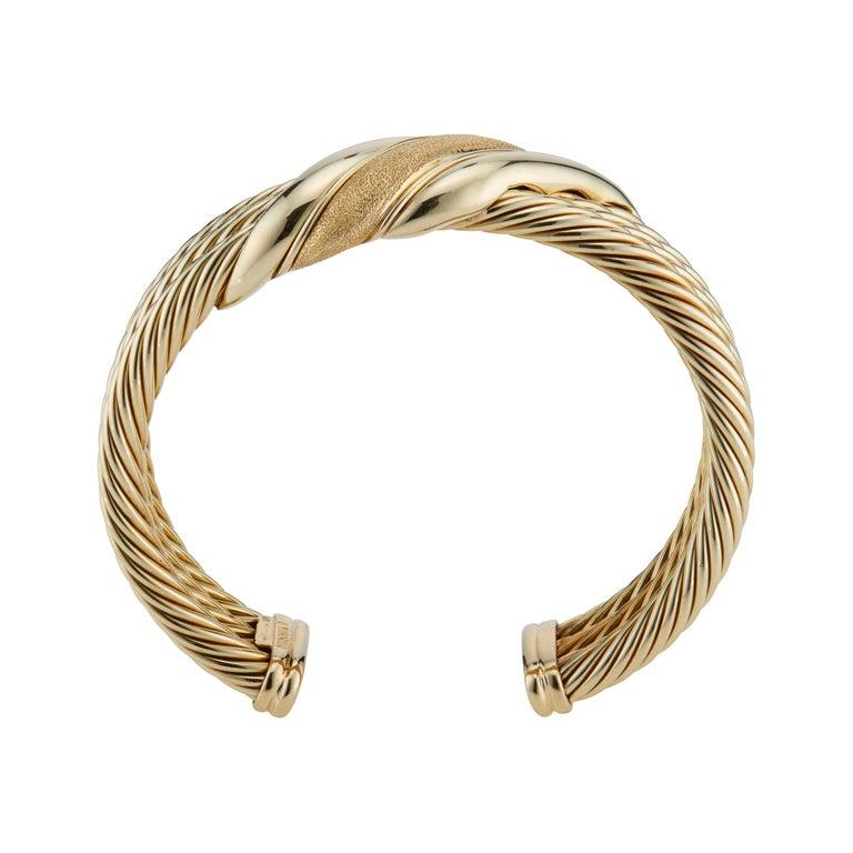 David Yurman Yellow Gold Triple Cable Band Cuff Bracelet  For Sale 1
