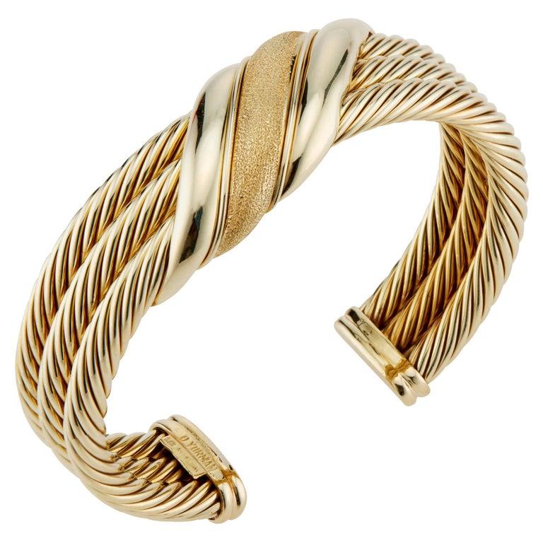 David Yurman Yellow Gold Triple Cable Band Cuff Bracelet  For Sale