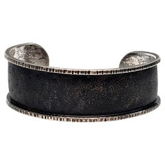 Davide Bigazzi Oxidized Sterling Silver Chased Cuff