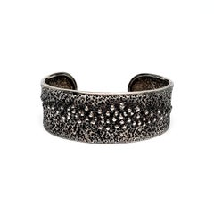 """Davide Bigazzi Oxidized Sterling Silver Repoussed and Chased """"Oxygen"""" Cuff"""