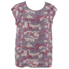 DAVIDE CENCI Silk Pink Camouflage Pattern SHELL TOP Blouse SIZE 46