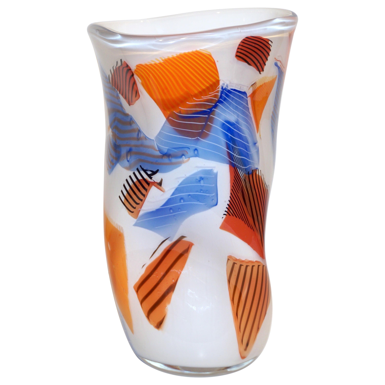 Davide Dona Small Free-Form White Orange Red Blue Murano Art Glass Vase