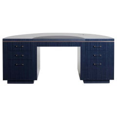 "Davidson's Art Deco, ""Lunar"" Writing Desk, in a Figured Blue Anegre Timber"