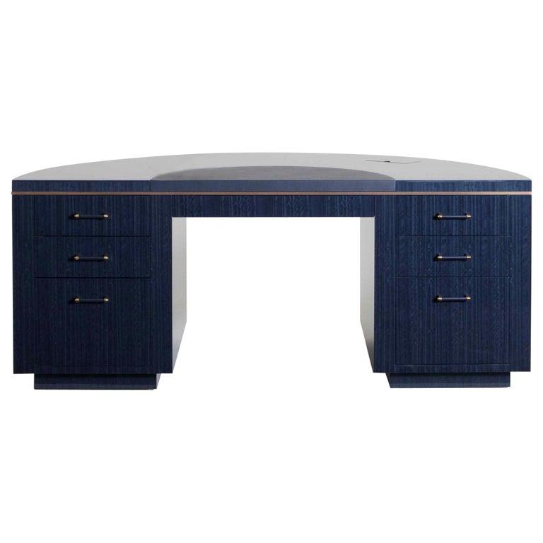 Art Deco Style Lunar Writing Desk, Art Deco Corner Writing Desk