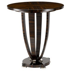 "Davidson's Circular, ""Aylesbury"" Occasional Table in Macassar Ebony and Nickel"