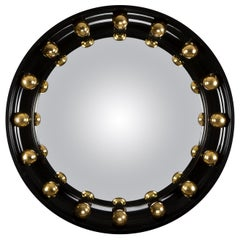 "Davidson's Circular Convex ""Neptune"" Mirror in Black Lacquer and Gold Leaf"
