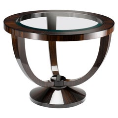 "Davidson's Circular, ""Portland"" Occasional Table in Macassar Ebony and Glass Top"