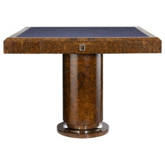 "Davidson's Classic ""Richmond"" Games Table, in High Gloss Burr Walnut and Nickel"