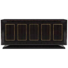 "Davidson's Contemporary, ""Bolton"" Side Cabinet, in Macassar Ebony and Gold Leaf"