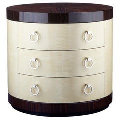 "Davidson's Cylindrical ""Clarence"" Chest of Drawers in Sycamore and Macassar Wood"