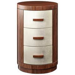 Davidson's Cylindrical Winkworth Chest of Drawers, in Walnut and White Gold Leaf