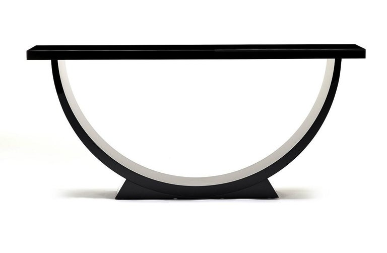 British Davidson's Modern, Caspian Console Table, in High-Gloss Black Lacquer For Sale