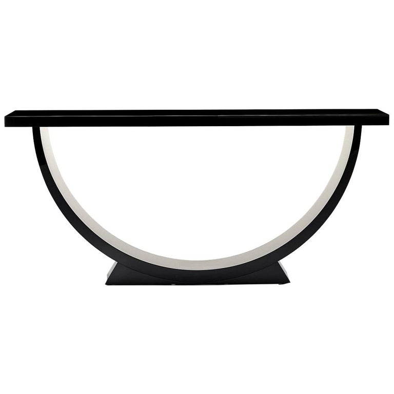 Davidson's Modern, Caspian Console Table, in High-Gloss Black Lacquer For Sale