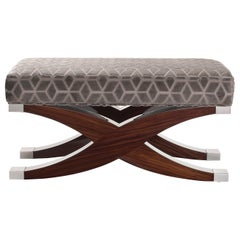 Davidson's Modern Wilcox Stool in Dark-Tinted Rosewood and Nickel Detail