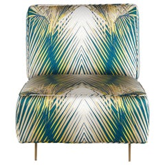 Davis Armchair in Fabric with Bronze Finish Metal Legs by Roberto Cavalli