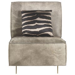 Davis Armchair in Leather with Bronze Finish Metal Legs by Roberto Cavalli