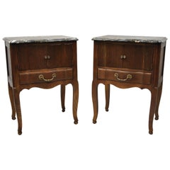 Davis Cabinet Company French Country Oak Marble-Top Nightstand Tables, a Pair