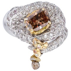 d'Avossa Masterpiece Collection Ring with a Cognac Central Diamond