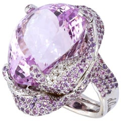 d'Avossa Ring from Masterpiece Collection with Central Kunzite and Diamonds