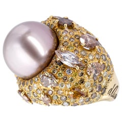 d'Avossa Ring from Masterpiece Collection with Thaiti Pearl and Fancy Diamonds