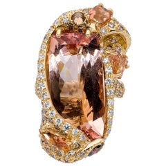 d'Avossa Ring from Masterpiece Rings Collection with a Central Cushion Morganite