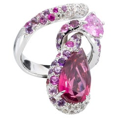 d'Avossa Ring in White Gold with Pink Tourmaline, Pink Sapphires and Diamonds