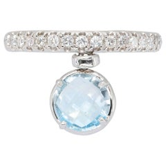 d'Avossa Ring with Blue Topaz and White Diamonds