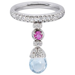 d'Avossa Ring with Blue Topaz, Pink Sapphire and White Diamonds