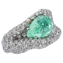 d'Avossa Ring with Central Green Paraiba Tourmaline and a White Diamonds Pavé
