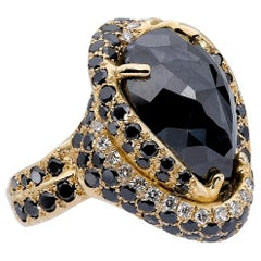 d'Avossa Ring with Central Pear Shape Black Diamond