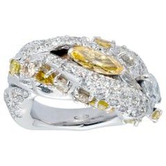 d'Avossa Ring with White and Fancy Yellow Marquise Cut Diamonds