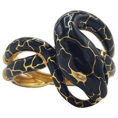 d'avossa Snake Bracelet, Yellow Gold and Black Enamel