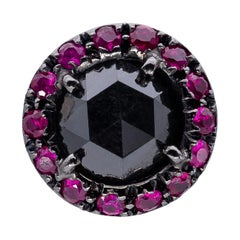 d'Avossa Starry Night Collection Round Black Diamond with Rubies Single Earring