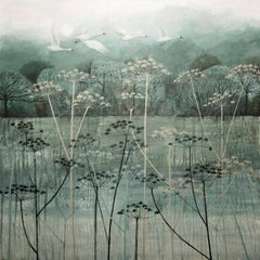 Birds Flying High, painting of a landscape , monotone colours , grey blue white
