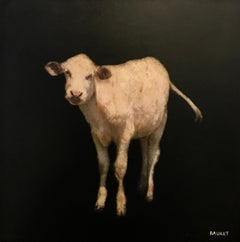 Cow II by Dawne Raulet, petite square contemporary animal painting