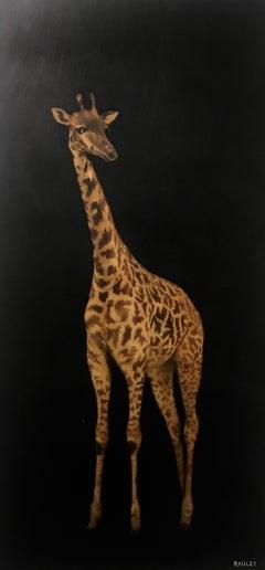 Giraffe by Dawne Raulet 2019 Vertical Animal Contemporary Board Painting