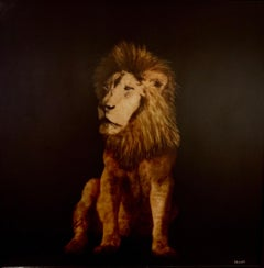 King Lion by Dawne Raulet Large Contemporary Mixed Media Animal Artwork Lion