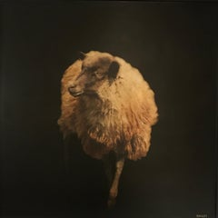 Sheepish by Dawne Raulet, Framed Mixed Media on Panel Contemporary Painting