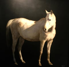 Spur of the Moment, large square mixed media contemporary equestrian on board