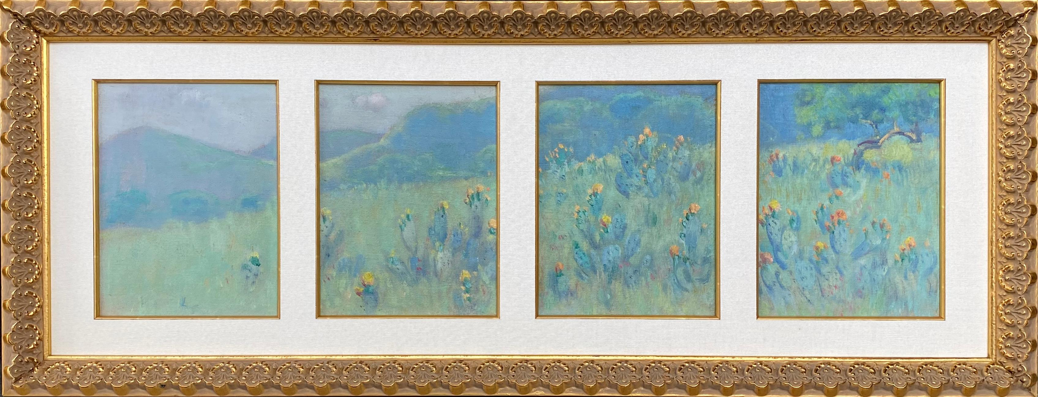 """""""Blooming Prickley Pear"""" RARE QUADRIPTYCH TEXAS HILL COUNTRY"""