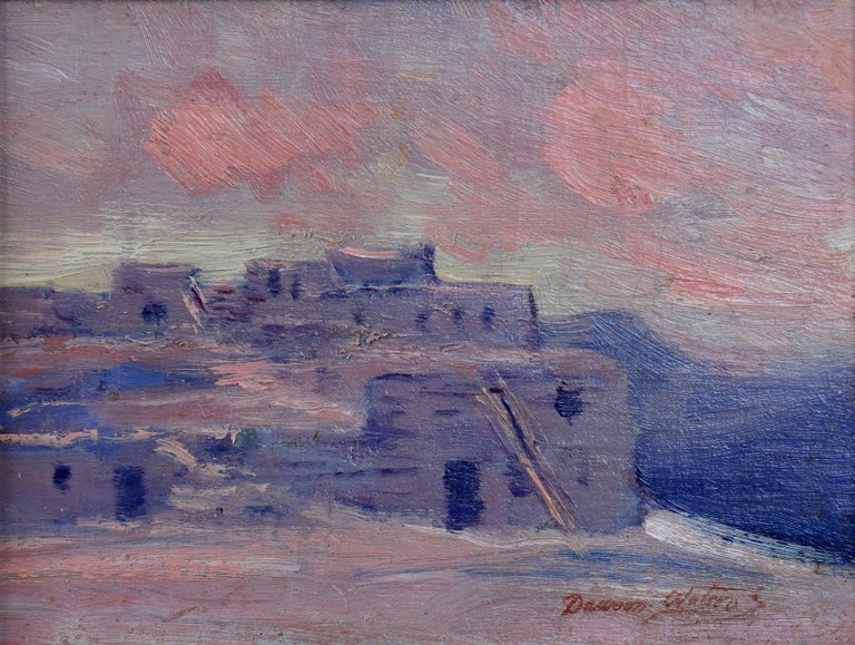 """Dawson Dawson-Watson  """"On the Hopi Reservation""""  Has two different old gallery labels on the verso from Santa Fe Galleries. (1864-1939) San Antonio Artist Image Size: 6.5 x 9 Frame Size: 12 x 13.5 Medium: Oil Circa 1926 """"On the Hopi"""