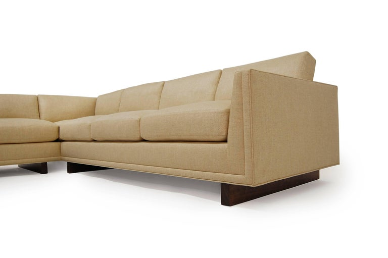 Other Dawson Sectional Walnut base Frame Trim detail loose seat & back cushions piping For Sale