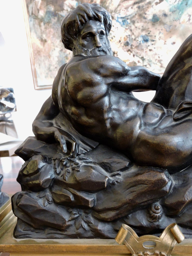 Day and Night, a Pair of 19th Century Bronze Sculpture after Michelangelo For Sale 3