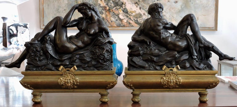The day and the night a pair of 19th century patinated bronze sculpture after Michelangelo