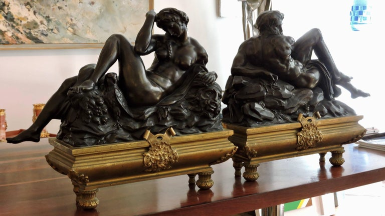 Louis XIV Day and Night, a Pair of 19th Century Bronze Sculpture after Michelangelo For Sale