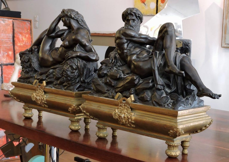 French Day and Night, a Pair of 19th Century Bronze Sculpture after Michelangelo For Sale