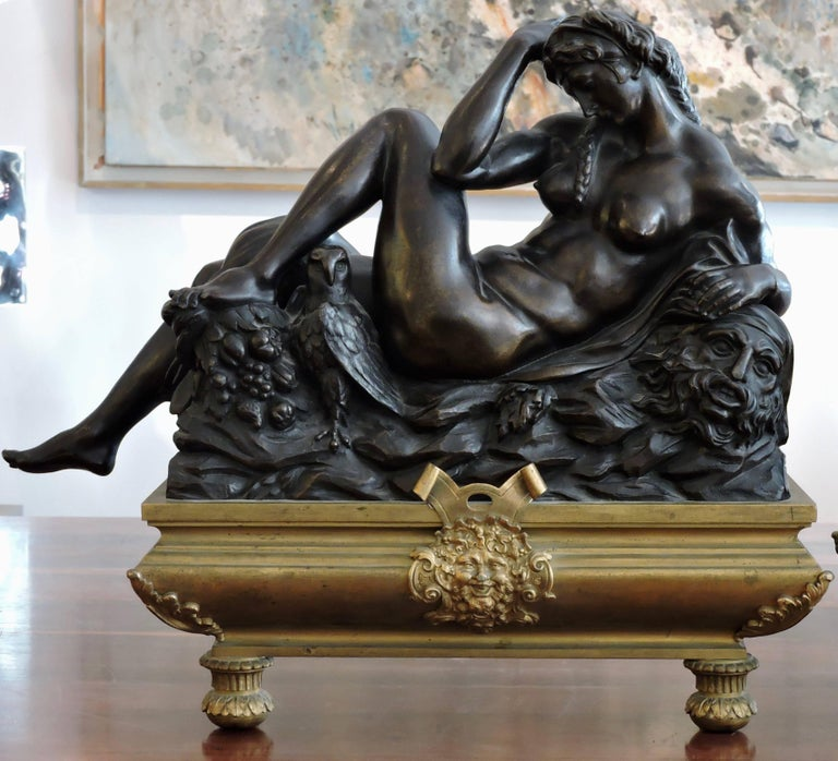 Gilt Day and Night, a Pair of 19th Century Bronze Sculpture after Michelangelo For Sale