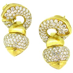Day and Night Diamonds Yellow Gold Earrings Clips